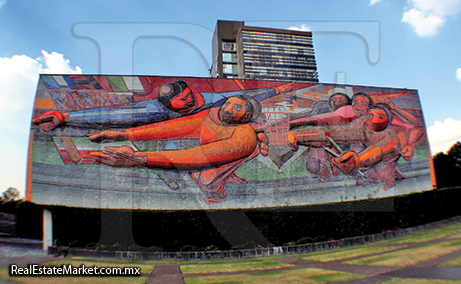 Mural lateral Rectoría Ciudad Universitaria